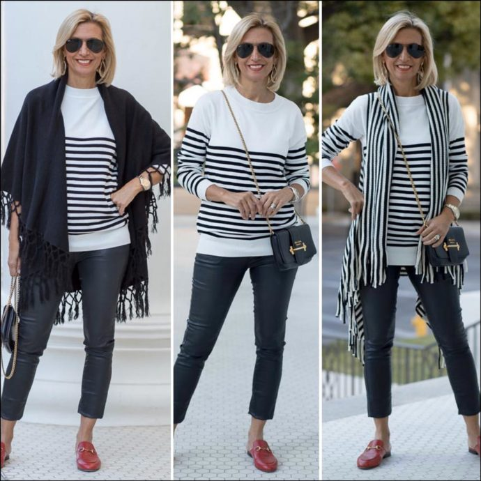 womens striped sweater styled with cape vests