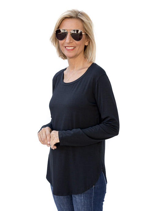 Black Round Neck Long Sleeve Top