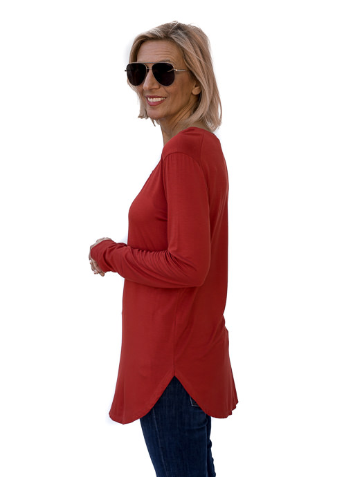 Burnt Orange Round Neck Long Sleeve Top