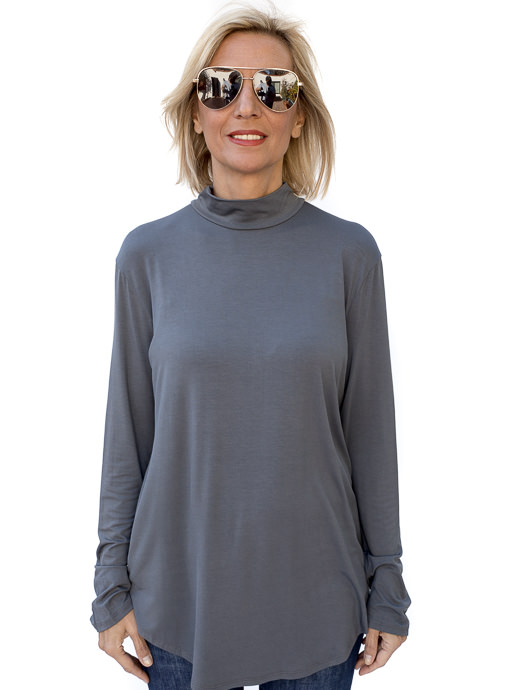 Charcoal Mock Neck Long Sleeve Top