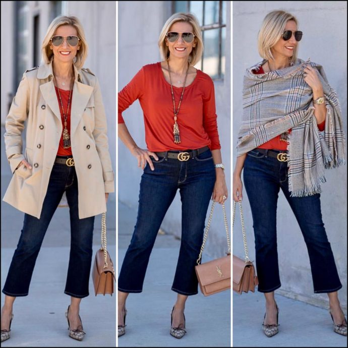 womens short trench coat for fall styled with a cozy scarf shawl