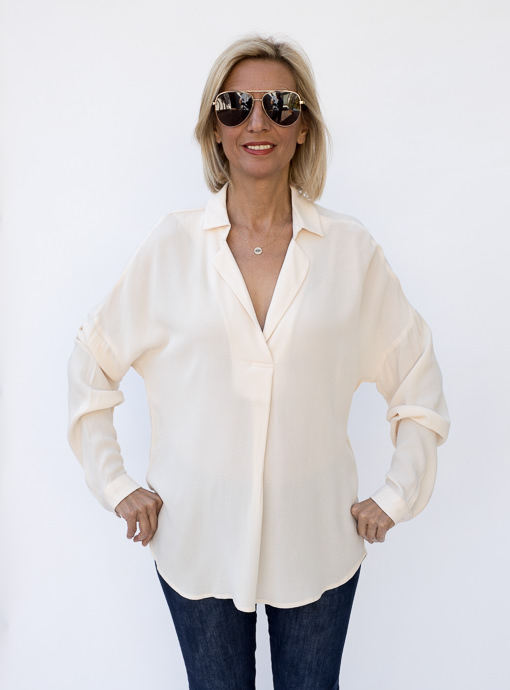 Eggshell Pull On Notch Collar Shirt