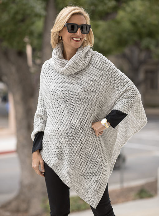 Gray Sweater Knit Pull On Poncho