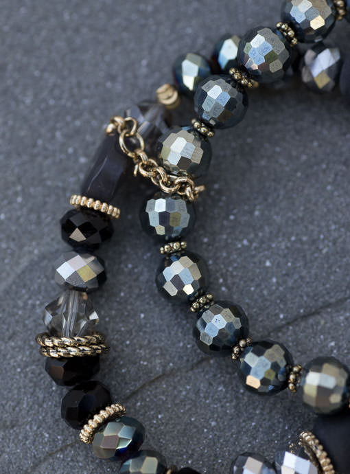 Set Of Two Gunmetal Black Gold Bead Bracelets With Tassel