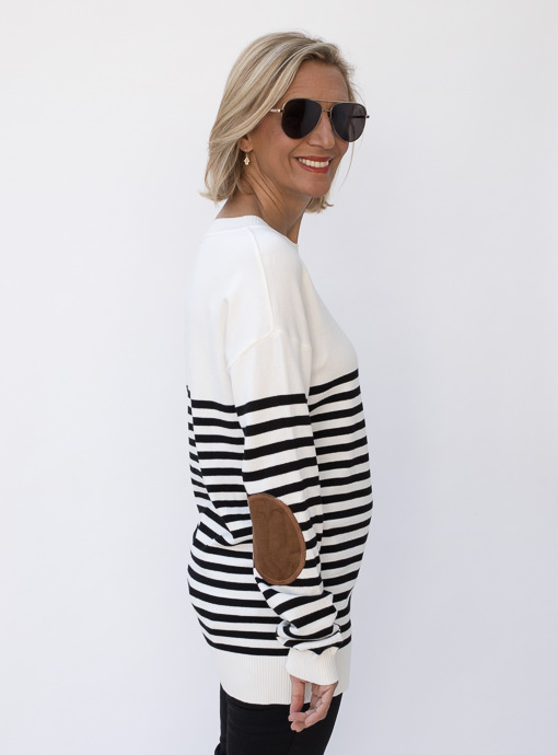 Ivory Black Stripe Sweater With Elbow Patches