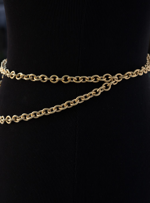 Italian Matt Gold Chain Link Belt with pendant for women