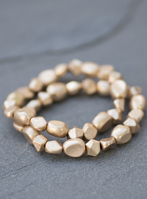 Matte Gold Metal Bracelets Set Of Two