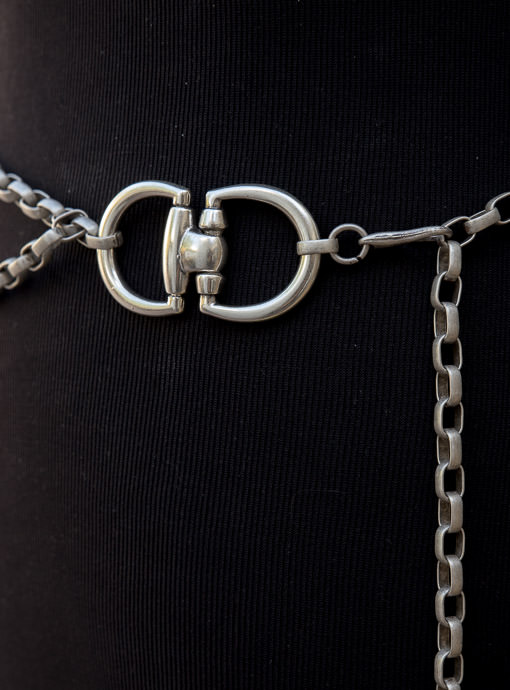 Matte Silver Chain Link Belt With Horse Bit Buckle