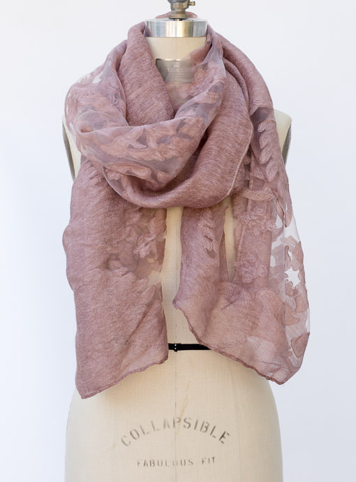 Mauve Burnout Scarf Shawl