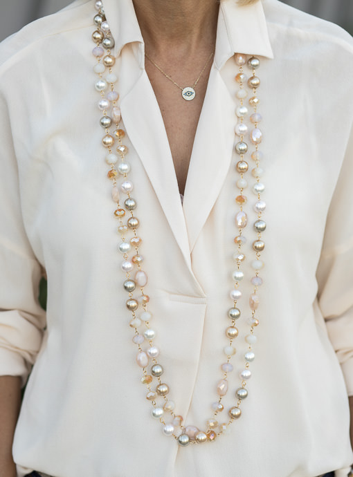 Multi Color Pearl And Bead Necklace Set