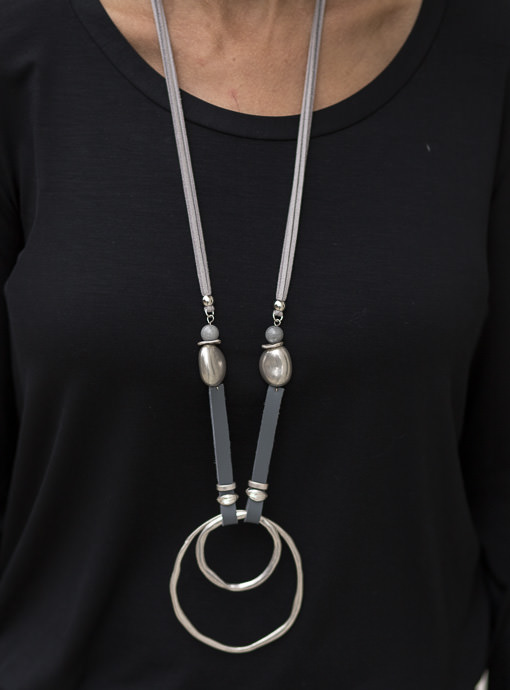 Gray Faux Suede And Leather Necklace With Silver Pendant