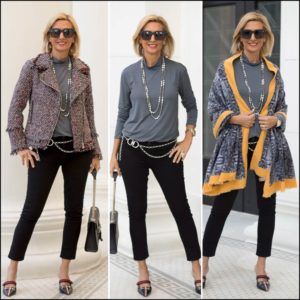 womens stylish and trendy boucle fabric moto jacket styled with jeans