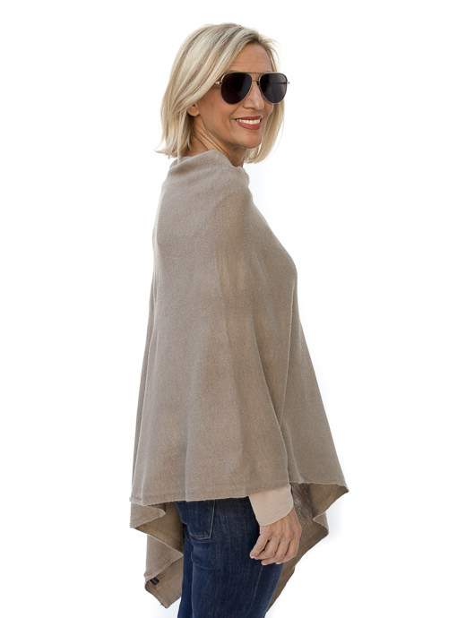 Taupe Pull On Poncho