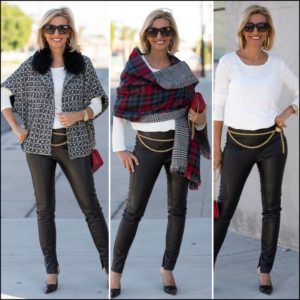womens fall houndstooth boucle jacket styled with fall classics