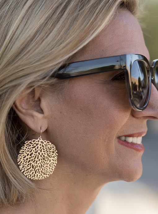 Matte Gold Round Cut Out Drop Earrings