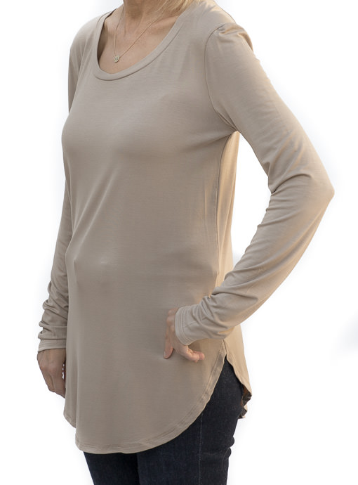 Mocha Round Neck Long Sleeve Top