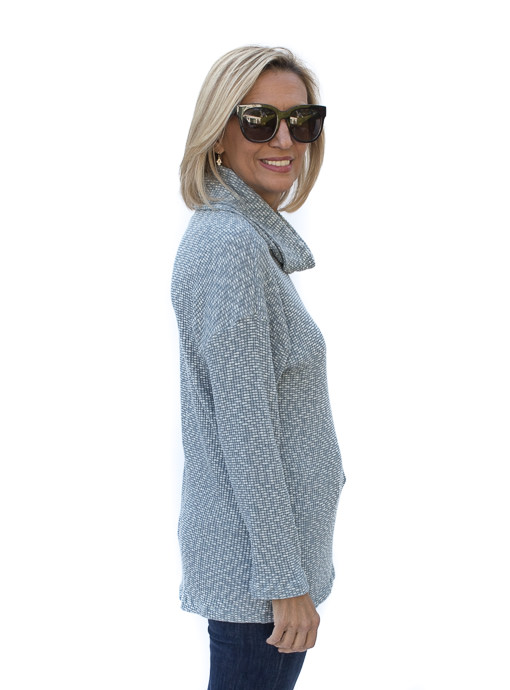 Seafoam Textured Knit Cowl Neck Top