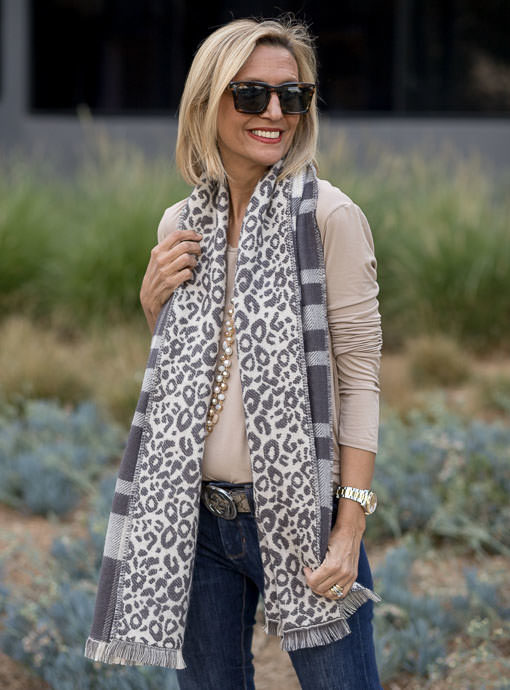 Gray Cream Plaid Leopard Reversible Shawl Wrap