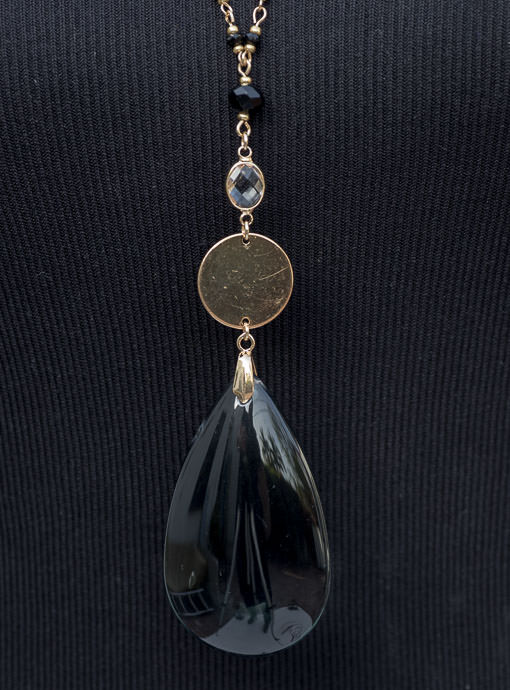 Black Bead Necklace With Black Tear Drop Pendant