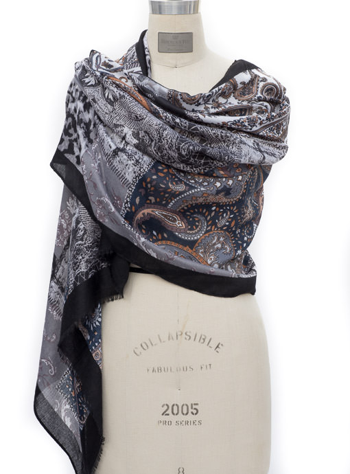 Black Multi Color Patch Work Print Scarf Shawl