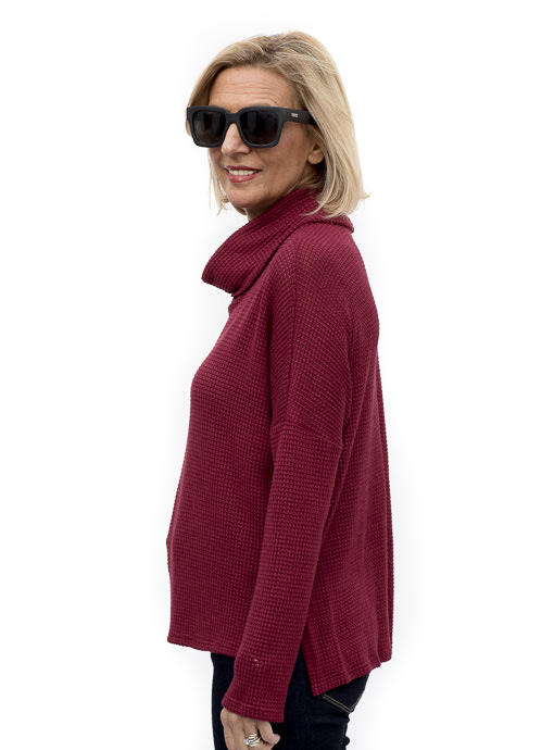 Burgundy Waffle Knit Cowl Neck Top