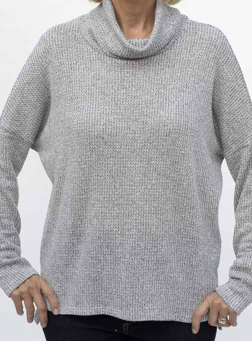 Heather Gray Waffle Knit Cowl Neck Top