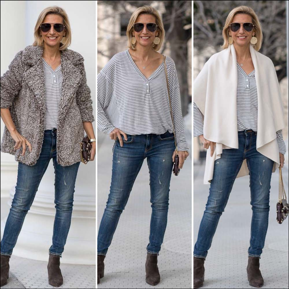 cream cape vest and brown teddy jacket for women styled for spring