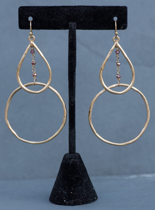 Matte Gold Double Layer Earrings With Small Beads