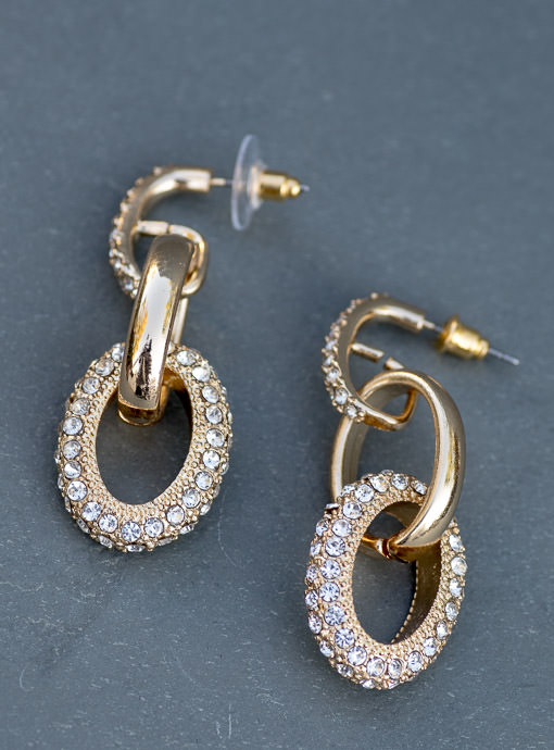 Gold And Faux Rhinestone Link Earrings