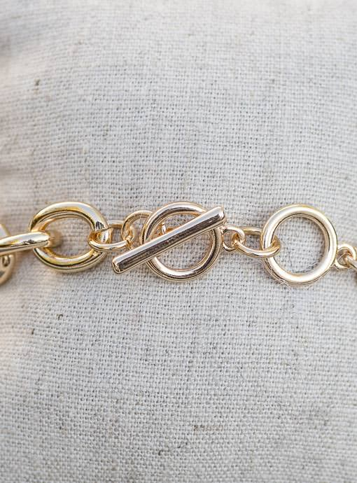 Gold Chain Bracelet With Heart Pendant