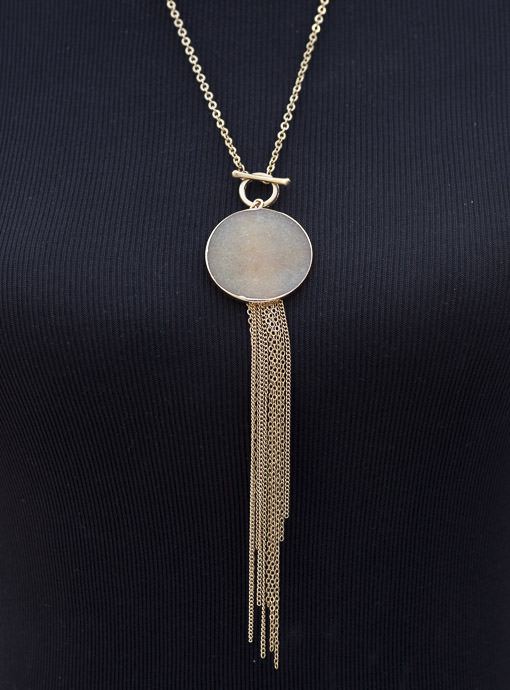 Gold Chain Necklace With Tan Pendant And Fringe