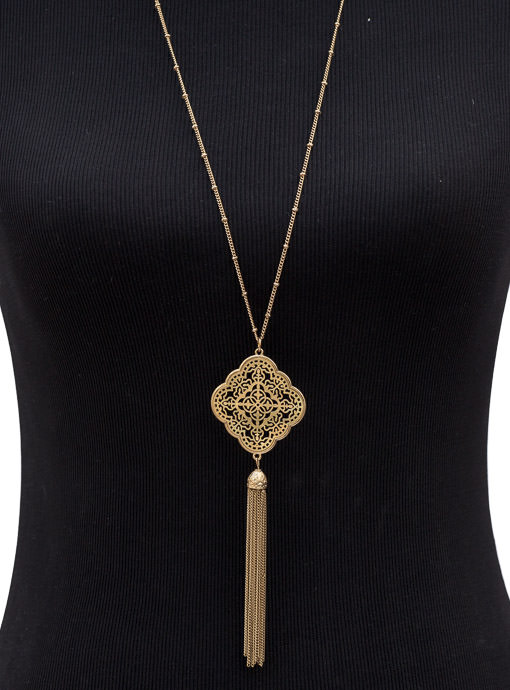 Gold Chain Necklace With Gold Pendant And Fringe