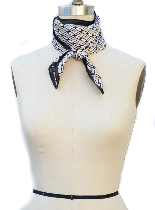 Ivory Black Gold Geometric Print Neck Scarf