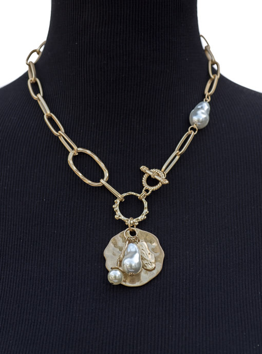 Matte Gold Chain Link And Pearl Charm Necklace