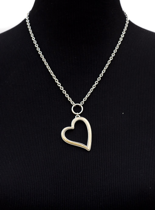 Matte Silver And Gold Heart Necklace