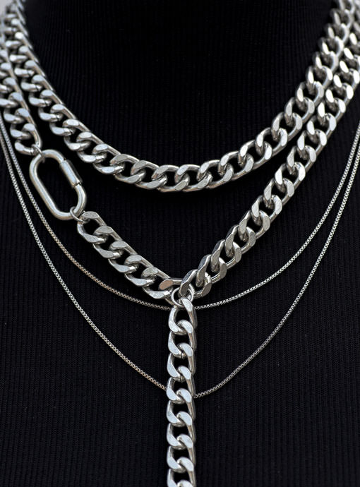 womens Matte Silver Multi Chain Y Necklace