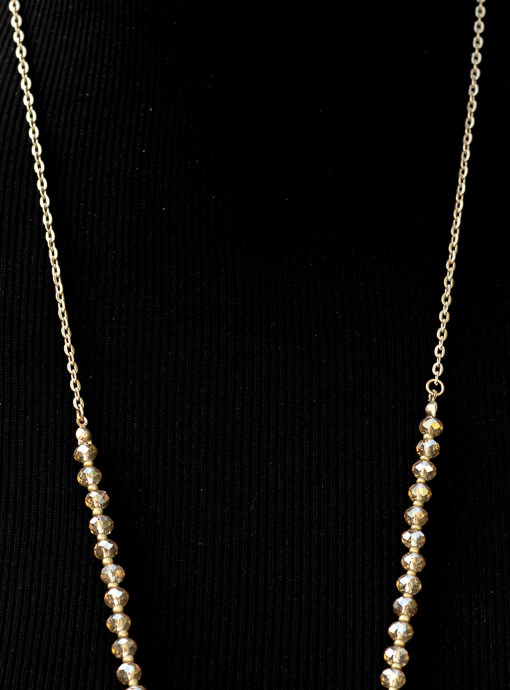 Gold Chain Necklace With Gold Pendant And Beads