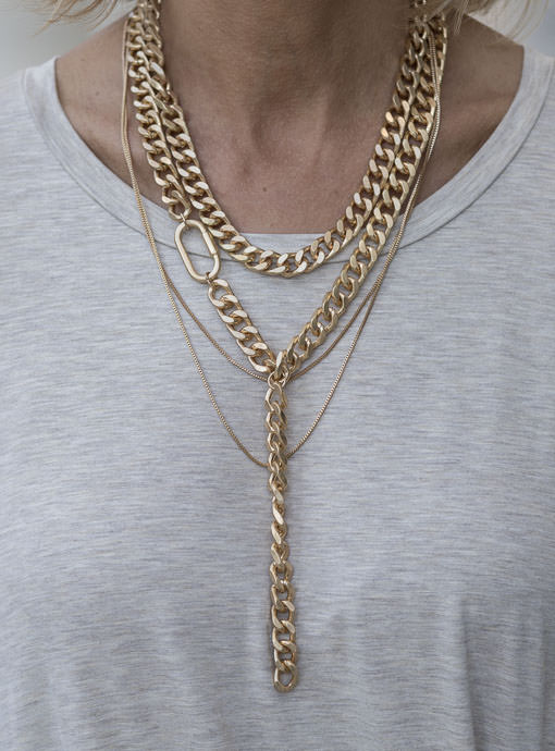 Matte Gold Multi Chain Y Necklace