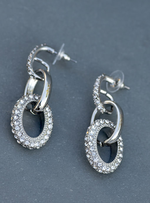 Silver And Faux Rhinestone Link Earrings