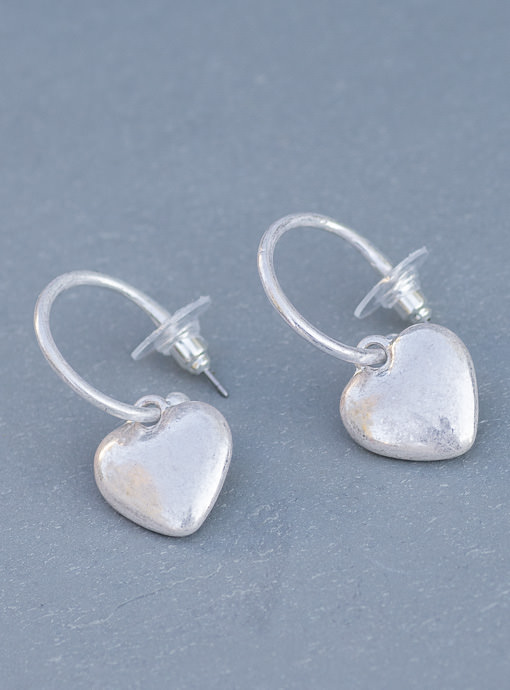 Silver Small Heart Earrings