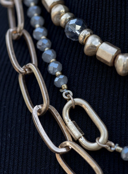 Three Layer Gold Chain And Gray Bead Necklace