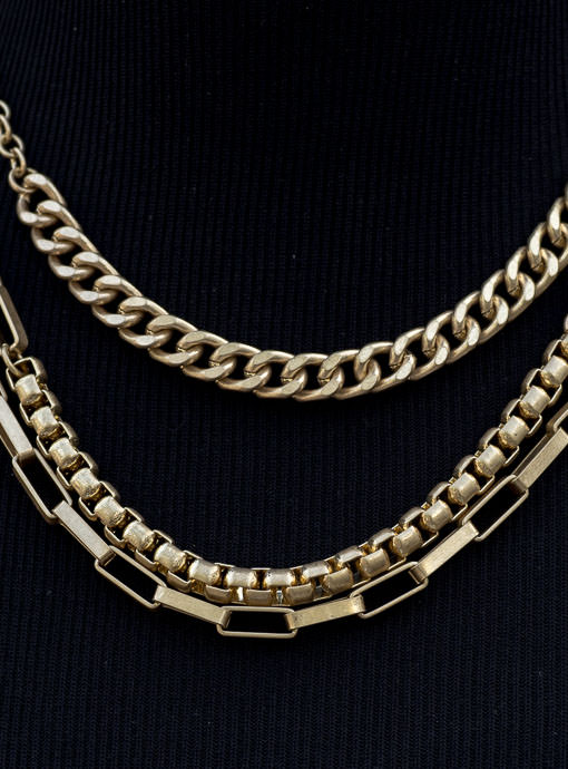 Three Layer Gold Chain Necklace