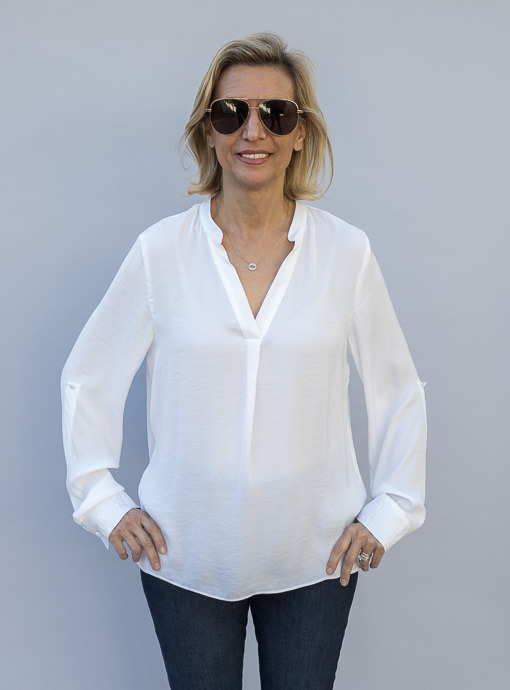 White Stand Collar Long Sleeve Blouse