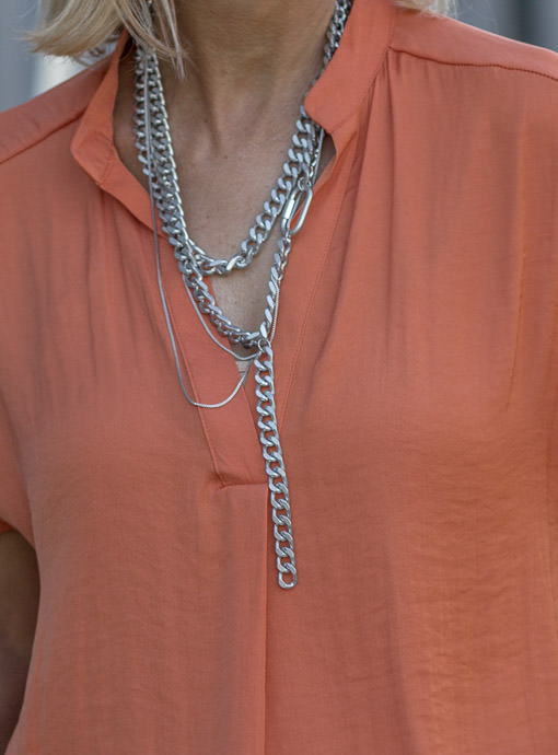 Matte Silver Multi Chain Y Necklace