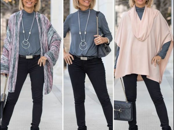 two cozy new year looks for women a cardigan and a shawl poncho