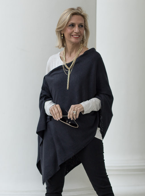 womens black pull on poncho