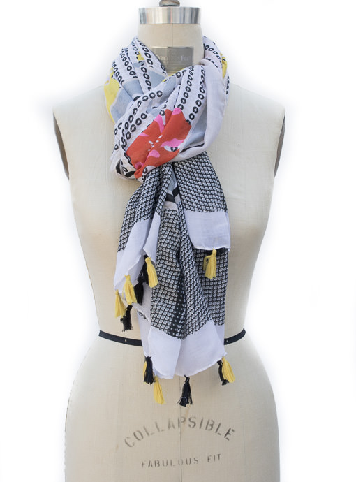 Womens Black White Geometric Floral Print Scarf Shawl With Tassels