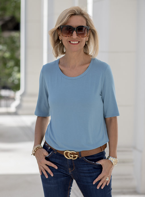 Blue Round Neck Elbow Length Sleeve Top
