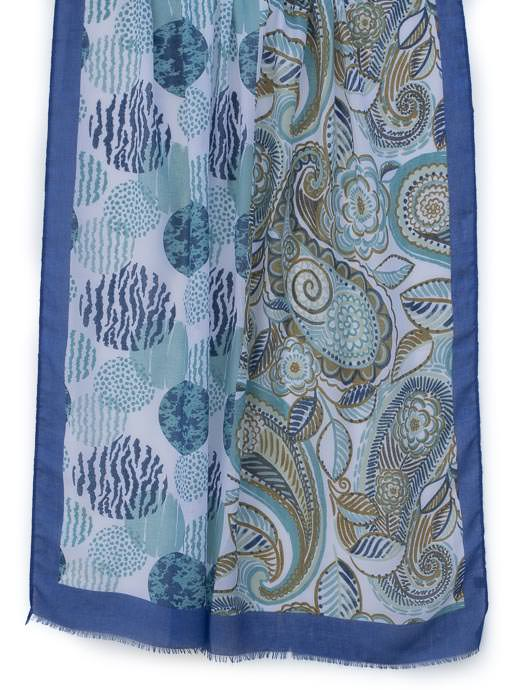 Womens Blue White Olive Multi Print Scarf Shawl