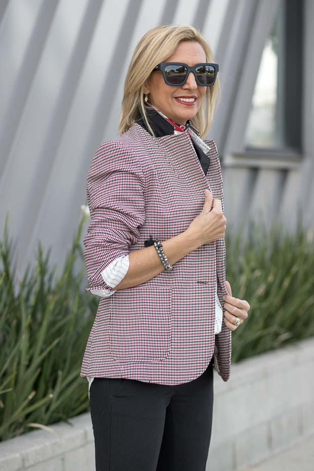 Womens Classic Houndstooth blazer styled by nora minassian jacket society